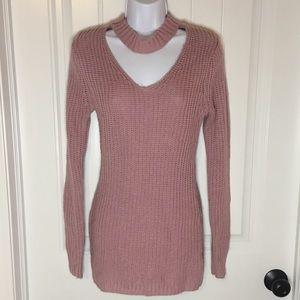 Pink Choker Sweater Dress